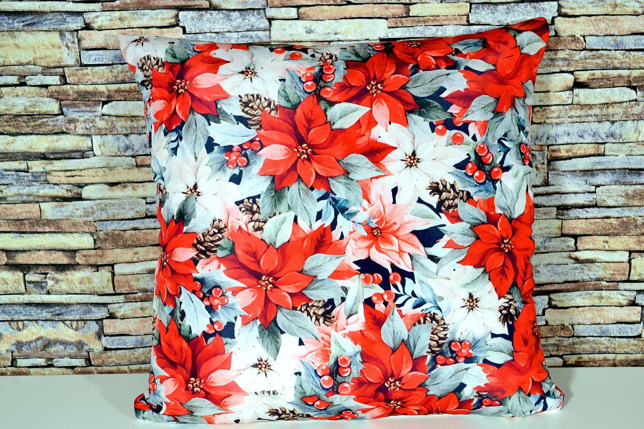 Capa de Almofada Natal - Flores Natalinas