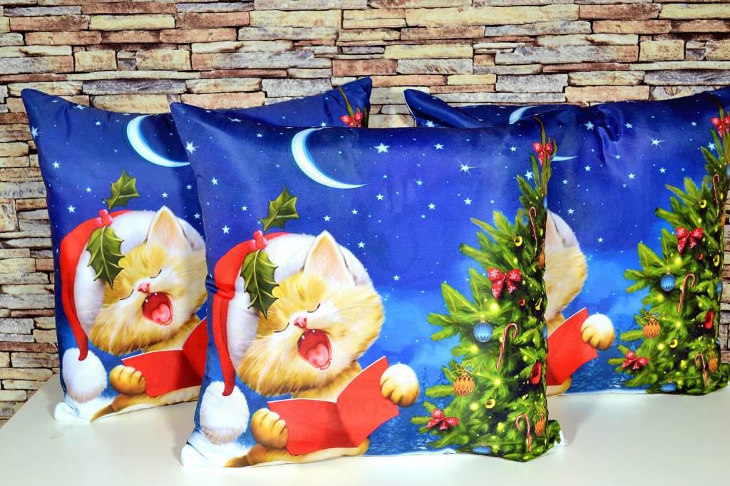 Capa de Almofada Natal - Gatinho