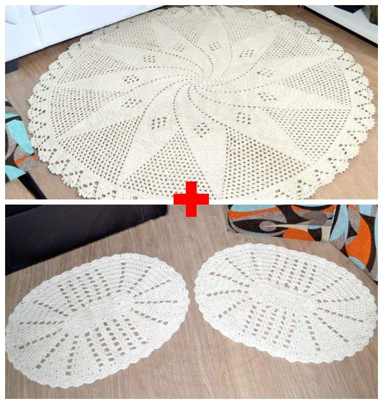 Combo Tapetão Redondo Crochê + Par Tapetes Amazonita - Cru