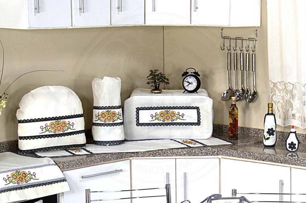 Itens para Cozinha em Bordado Ponto Cruz - Girassol