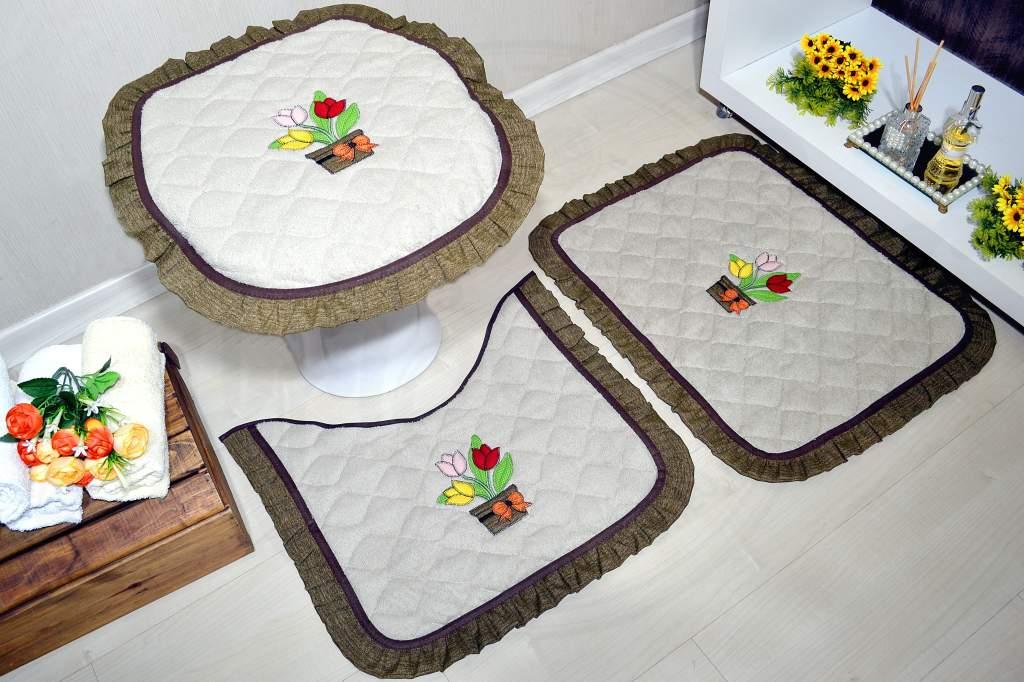 Jogo de Banheiro Atoalhado Vaso de Flores
