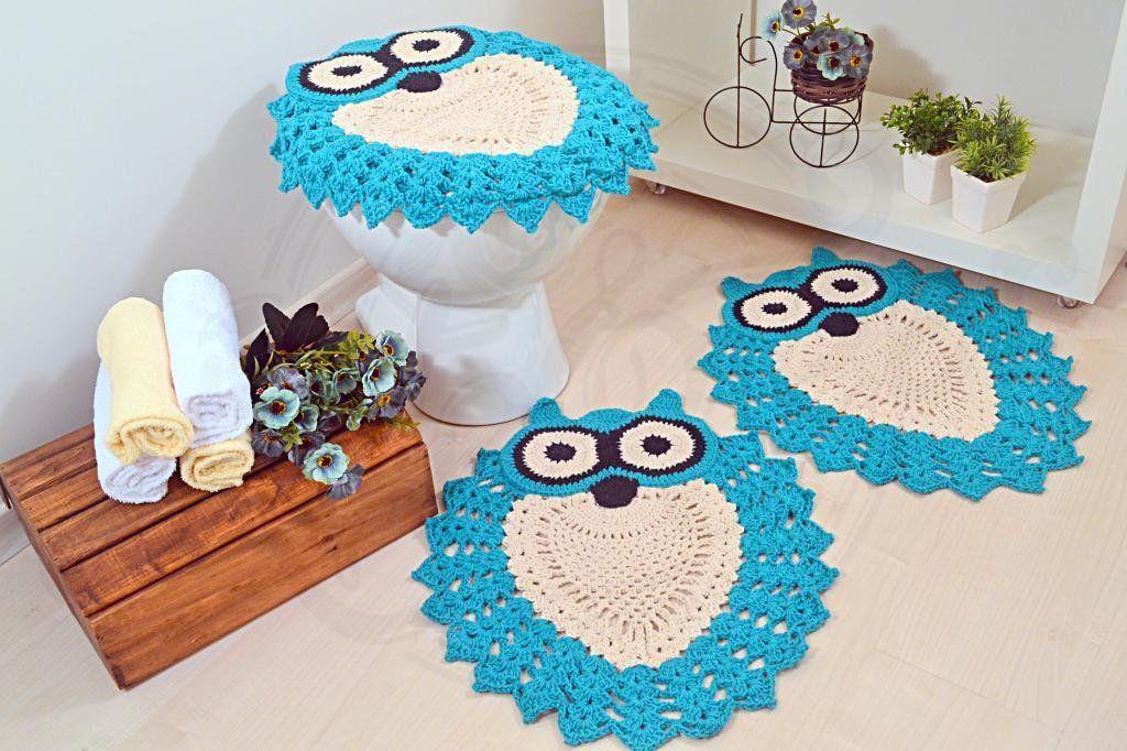 Jogo de Banheiro de Crochê Fleur