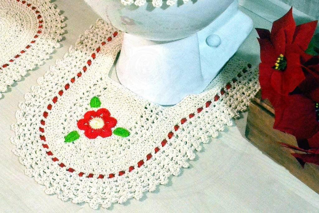 Jogo de Banheiro em Crochê Rojo