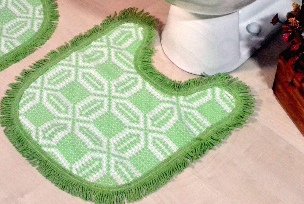 Jogo de Banheiro de Tear - Relevo Verde