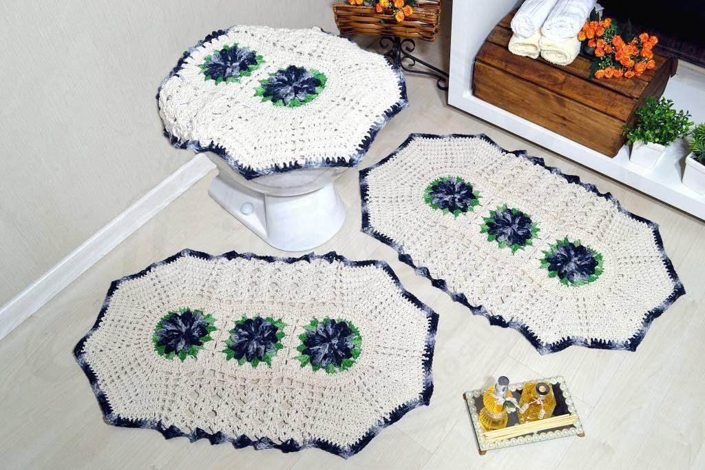 Jogo de Banheiro Crochê - Cinza Sóbrio