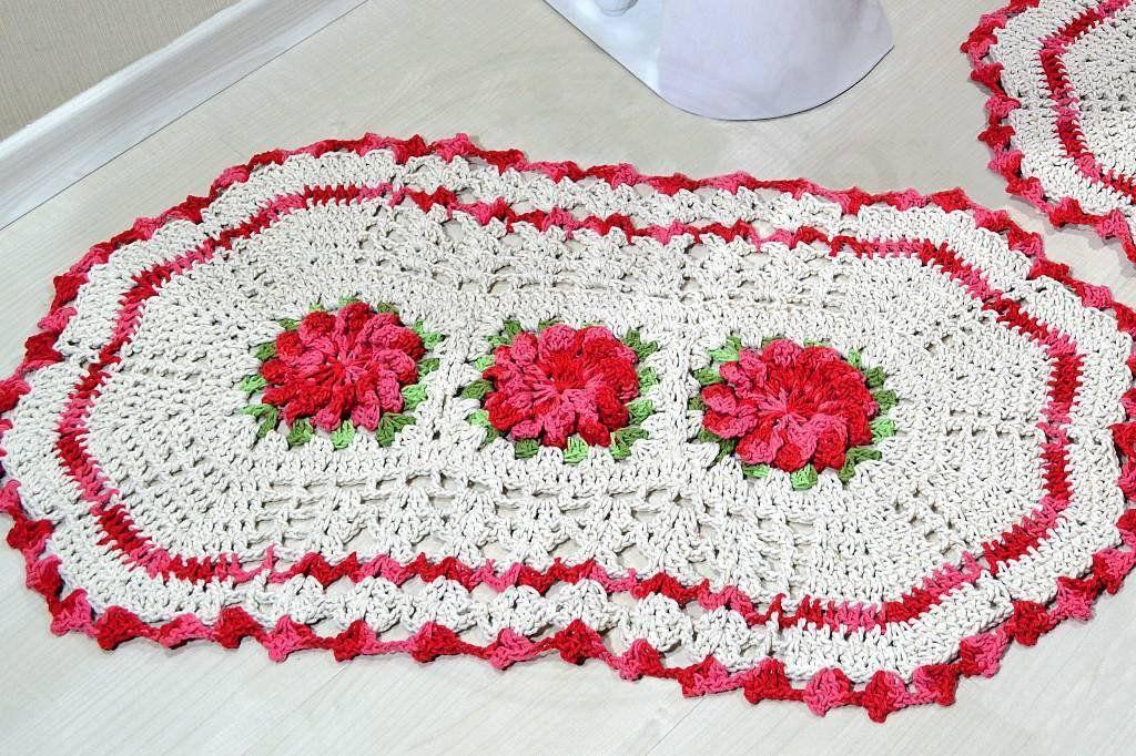 Jogo de Banheiro Crochê - Vermelho Poderoso