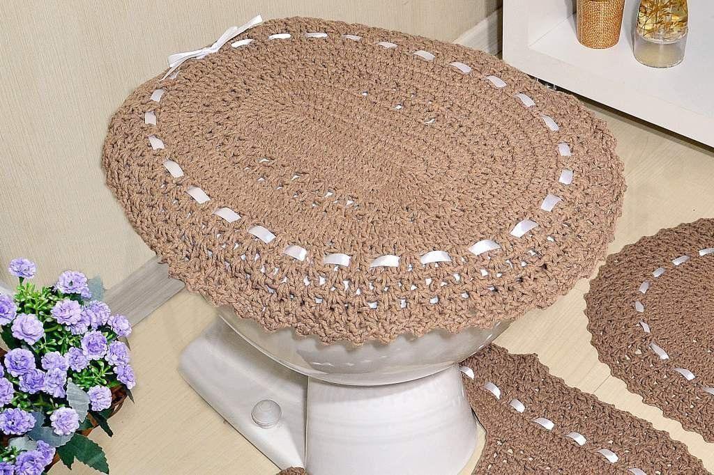 Jogo de Banheiro em Crochê - Caqui