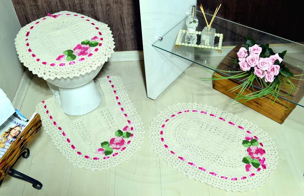 Jogo de Banheiro em Crochê - Flor Rosa