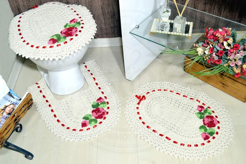 Jogo de Banheiro em Crochê - Flor Vermelha