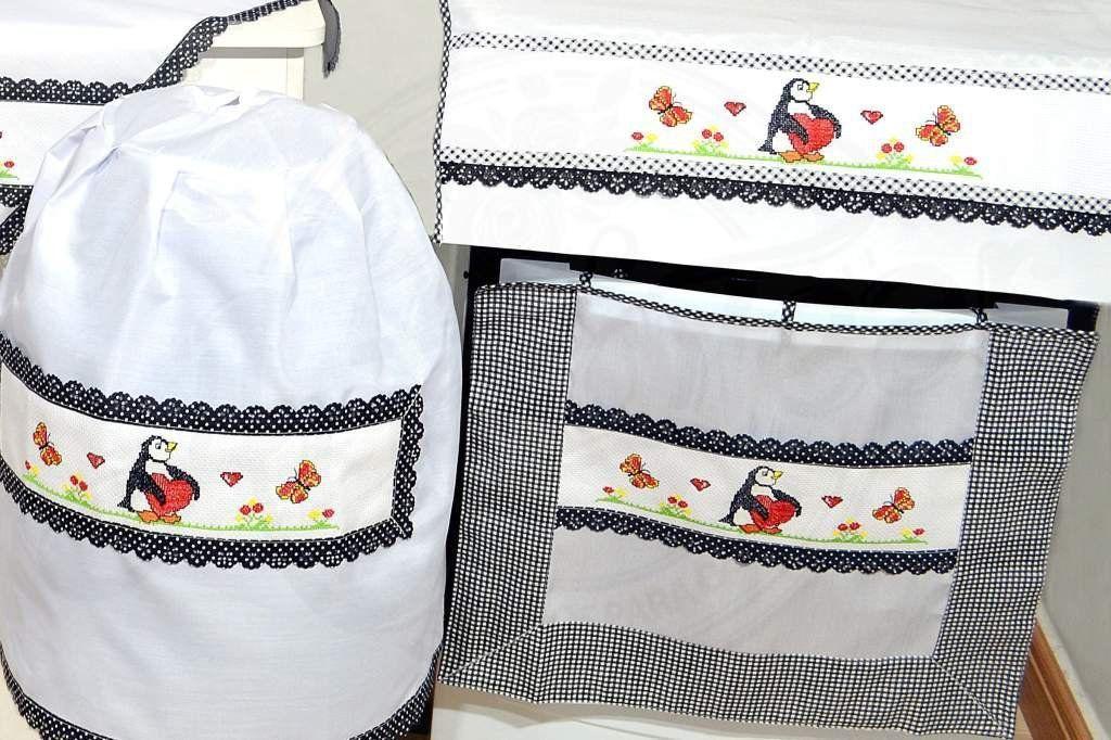 Jogo de Cozinha Ponto Cruz - Pinguim em Preto