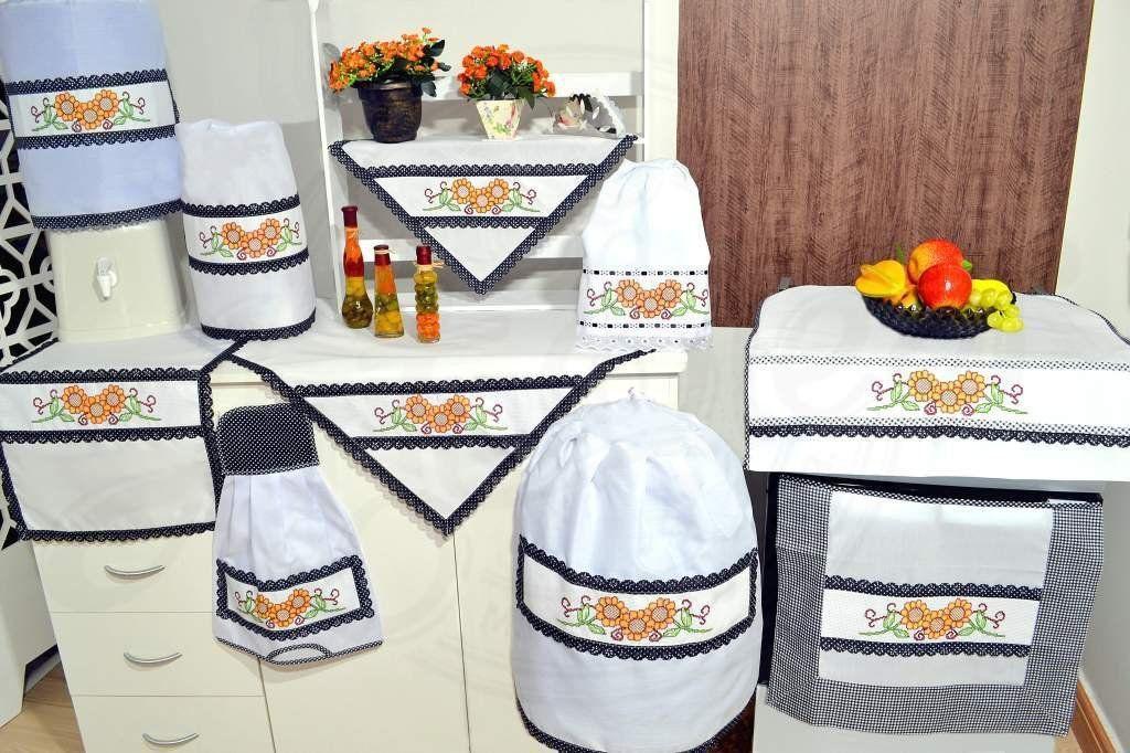 Jogo de Cozinha Ponto Cruz  - Girassol