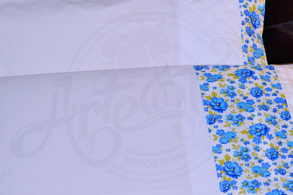 Jogo de Fronhas 150 fios 4 Peças - Branco Floral