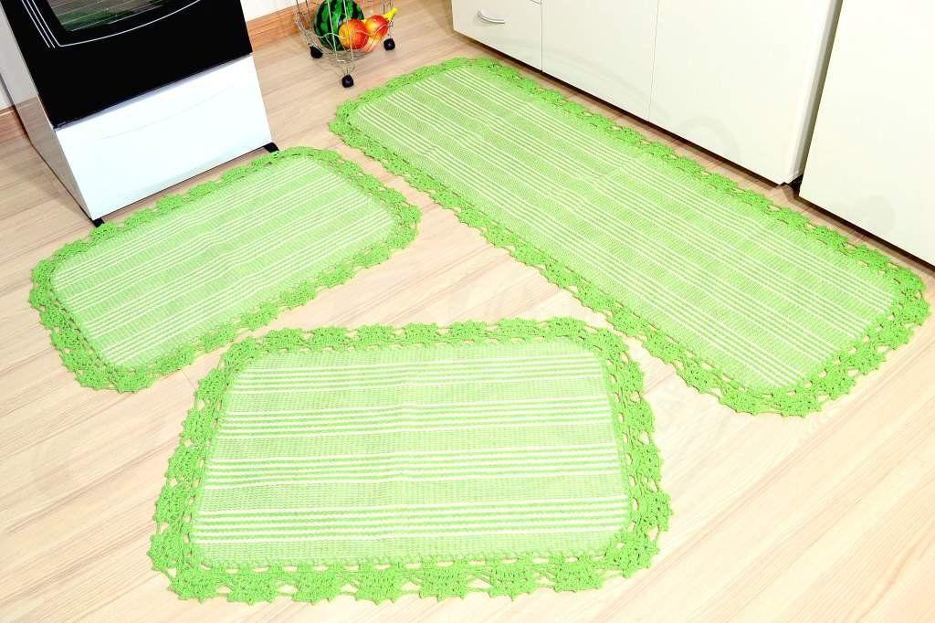 Jogo de Passadeira de Tear com Bico em Crochê - Verde