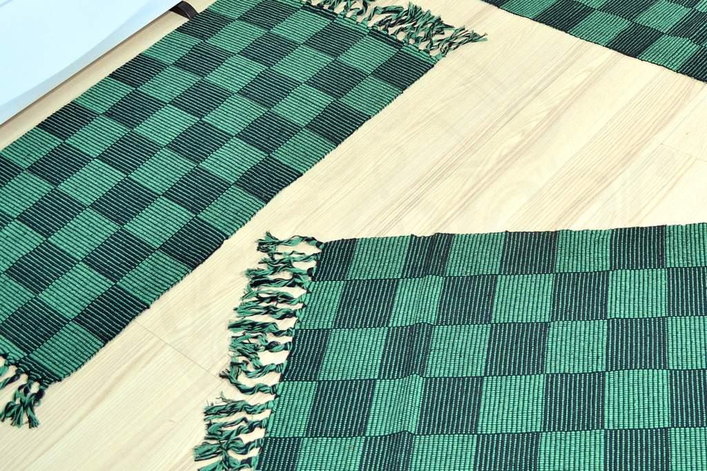 Jogo de Passadeira de Tear Xadrezinho - Verde e Preto