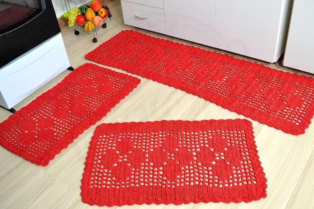 Jogo de Passadeira em Crochê Basic - Vermelho
