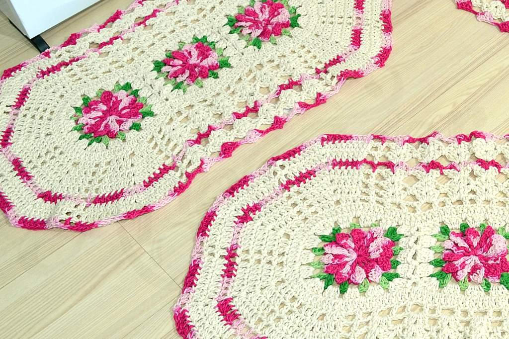 Jogo de Tapetes Especial - Flores Rosa Mesclado