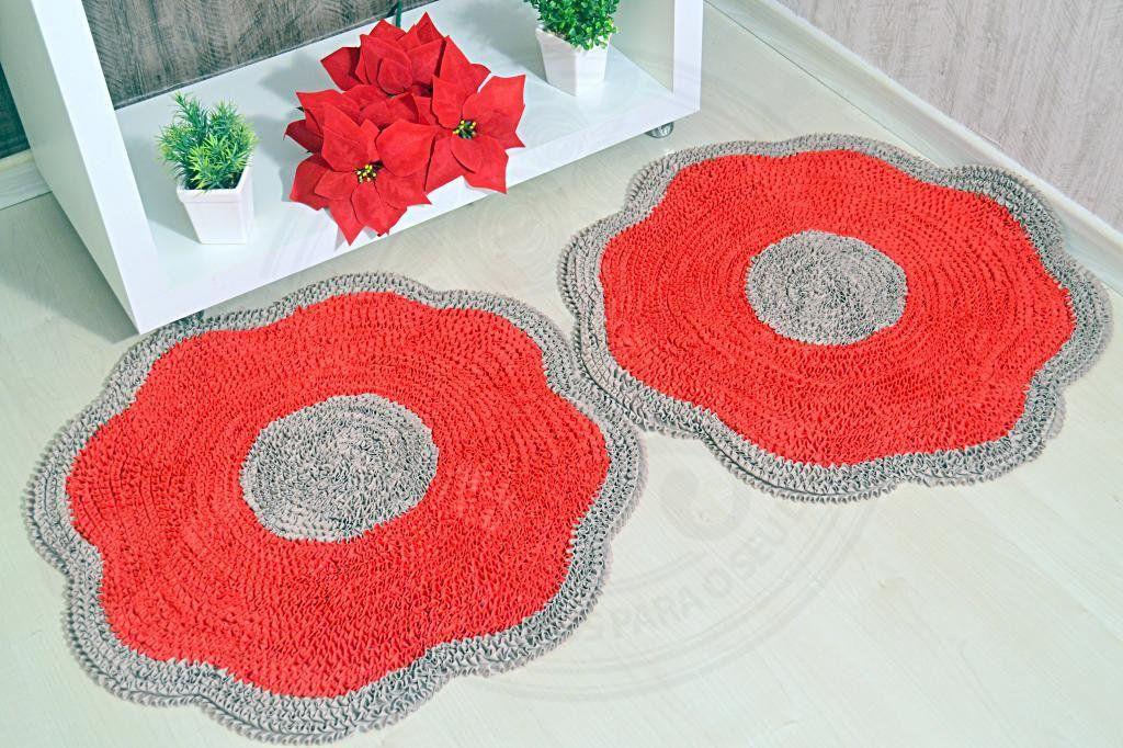 Par de Tapetes Maria Flor - Vermelho e Bege