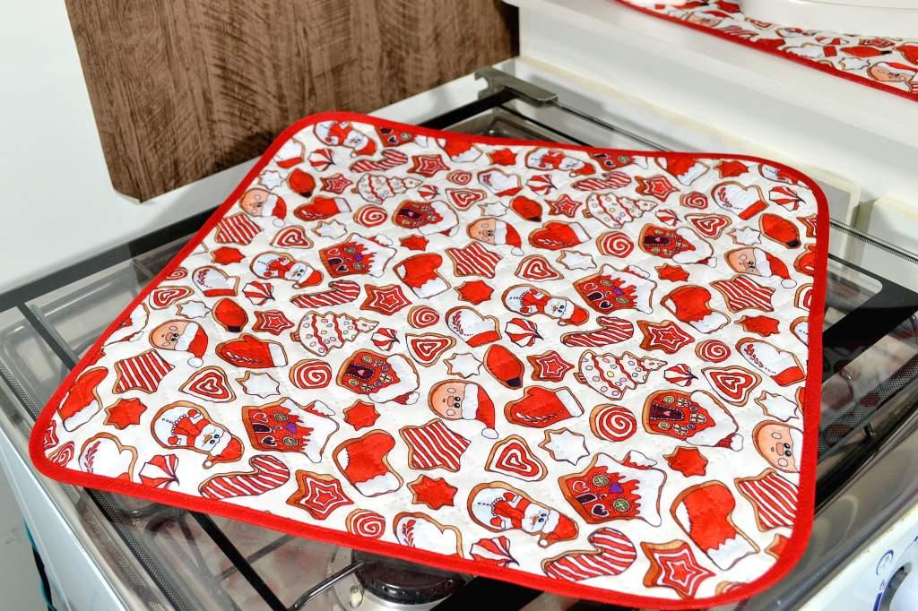Kit de Cozinha Matelado 3 Peças - Encantos de Natal