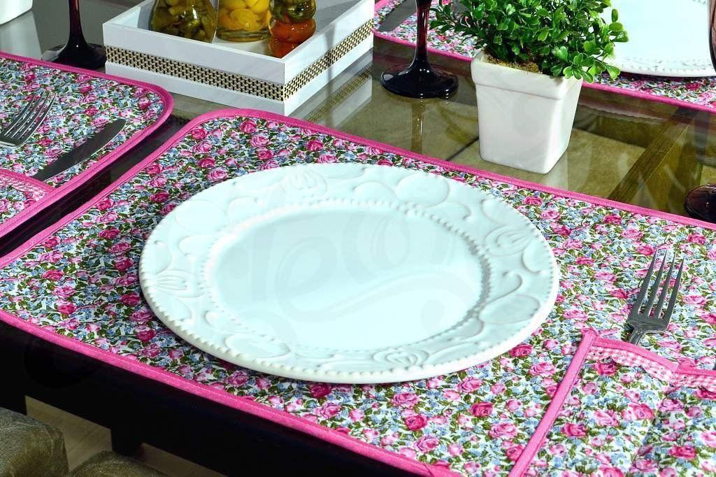 Lugar Americano Individual Matelado - Floral Rosa Pink