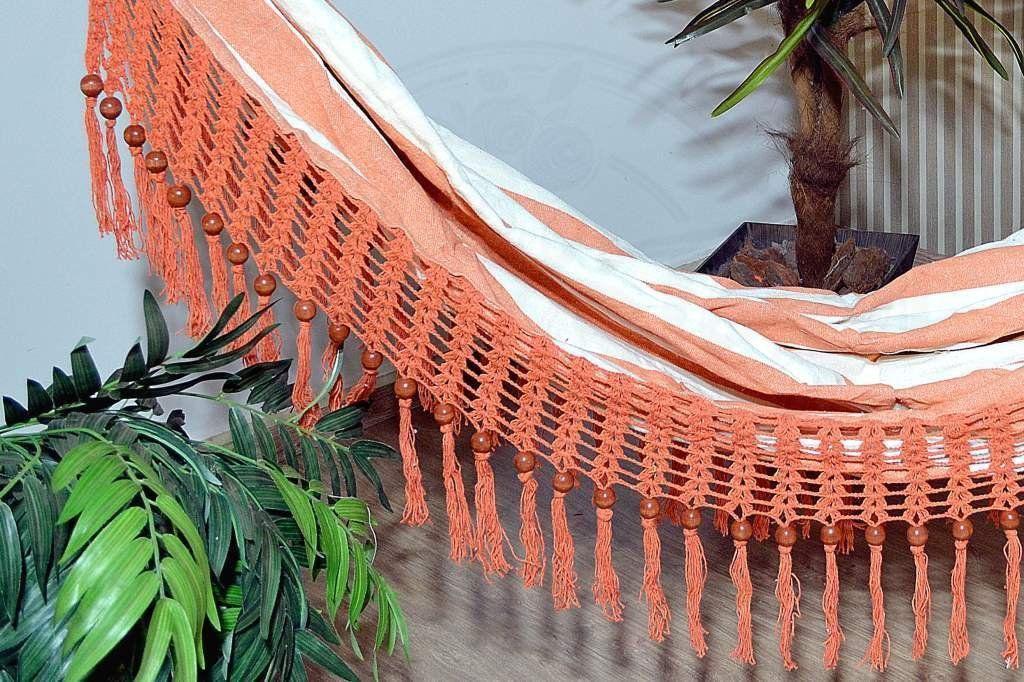 Rede com Bico em Crochê de Bolinha - Laranja