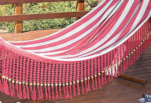 Rede com Bico em Crochê de Bolinha - Vermelha