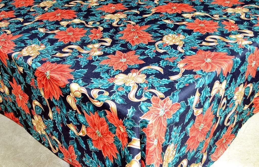 Toalha de Mesa Oxford Natal  - Flores Natalinas