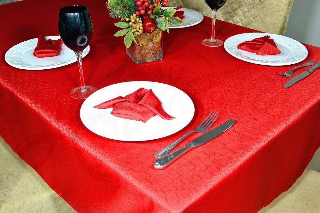 Toalha de Mesa Retangular Oxford Liso - Vermelha