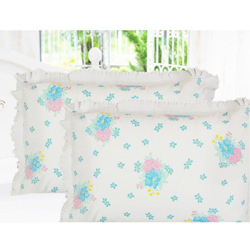 Fronhas 2 Peças Percal 180 Fios - Floral Azul - Carambella
