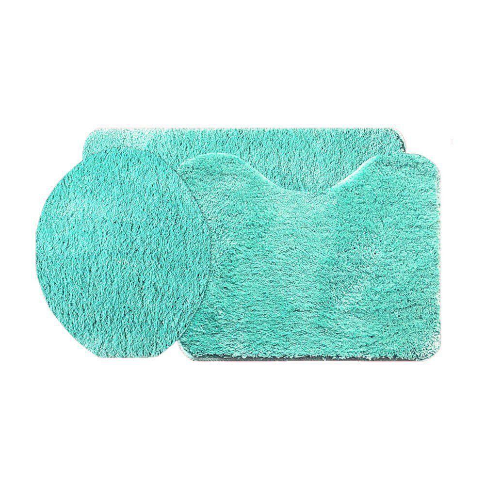 Jogo de Tapete Soft Color Para Banheiro 3 Peças Verde Água - Bella Casa