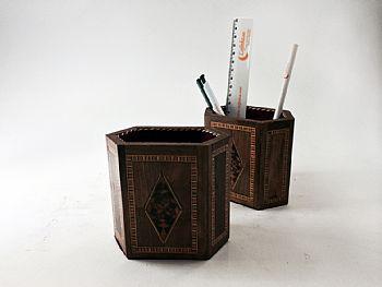 Porta-lápis de mosaico marchetado  -cod.558