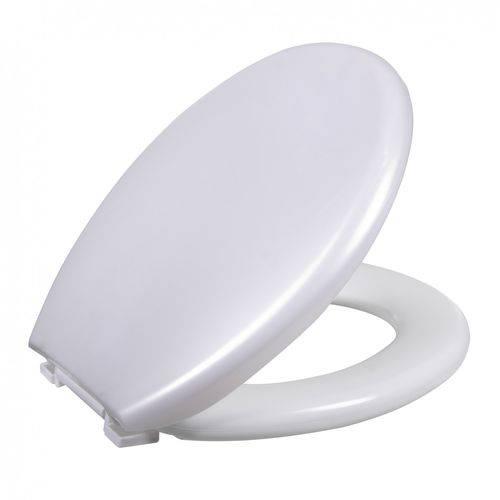 Assento Almofadado Ravena / Izy / Targa / Oval Convencional  para Deca PP TPK - Branco Perolado