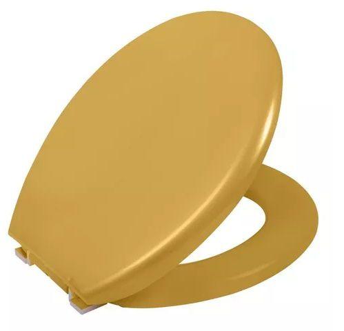 Assento Almofadado Ravena / Izy / Targa / Oval Convencional  para Deca PP TPK - Ouro