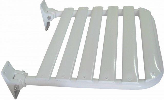 BANCO ARTICULADO/RETRÁTIL DA NBR-9050 - para BOX de Banheiro, em ALUMÍNIO com pintura epÓxi branca mede 70 x 45 cm, utilizado para BANHO de Cadeirantes Deficientes (PNE) (PCD) e Idosos.