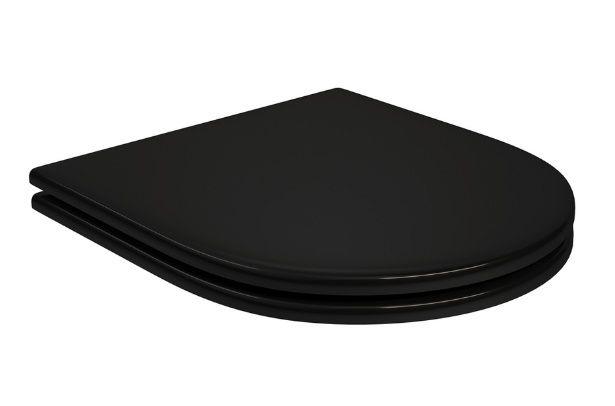 Assento BOUTIQUE Soft-Close Poliéster/Acrílico Boss para Incepa Preto Fosco com Ferragem na Cor do Assento