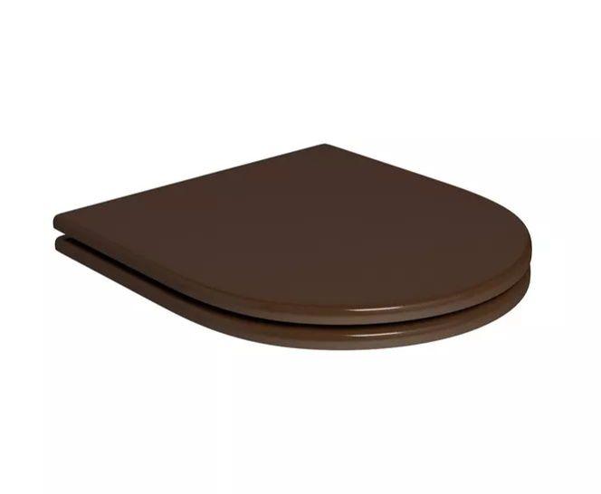 Assento BOUTIQUE Soft-Close Poliéster/Acrílico para Modelos Carrara, Nuova, LK e Duna para Deca Marrom Fosco com Ferragem Cromada