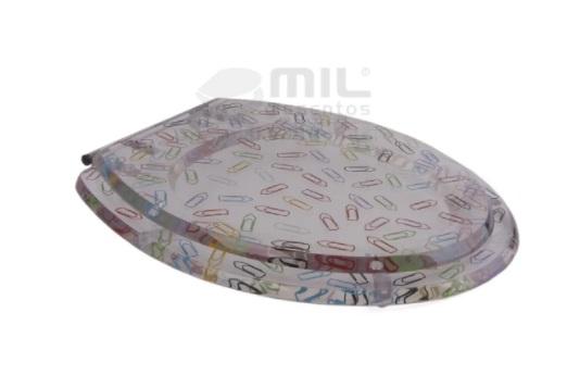 Assento Decorado Poliéster/Acrílico com Clips Coloridos - Para Bacia Carrara Deca