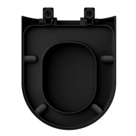 Assento Sanitário Carrara PRETO FOSCO Termofixo Tupan para Louça Deca com Fechamento Suave