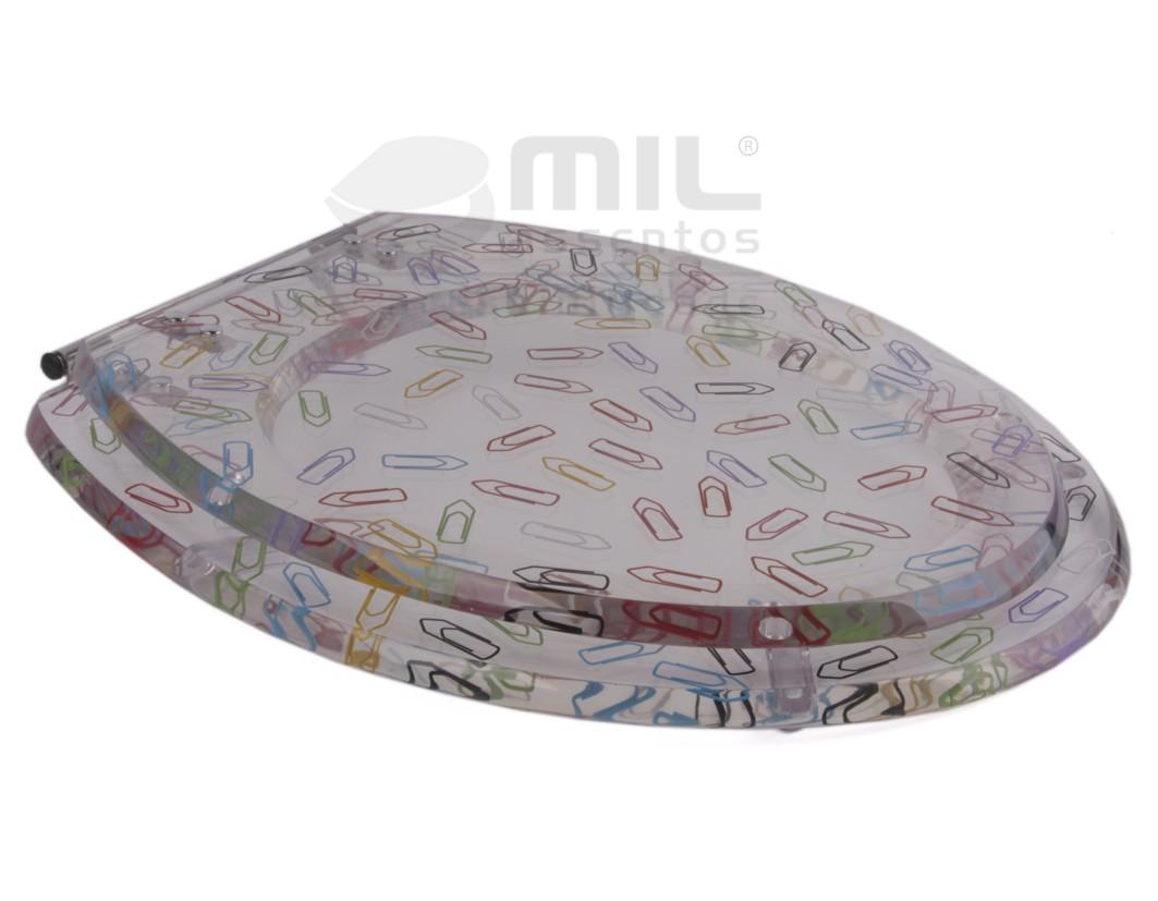 Assento Decorado Poliéster/Acrílico com Clips Coloridos