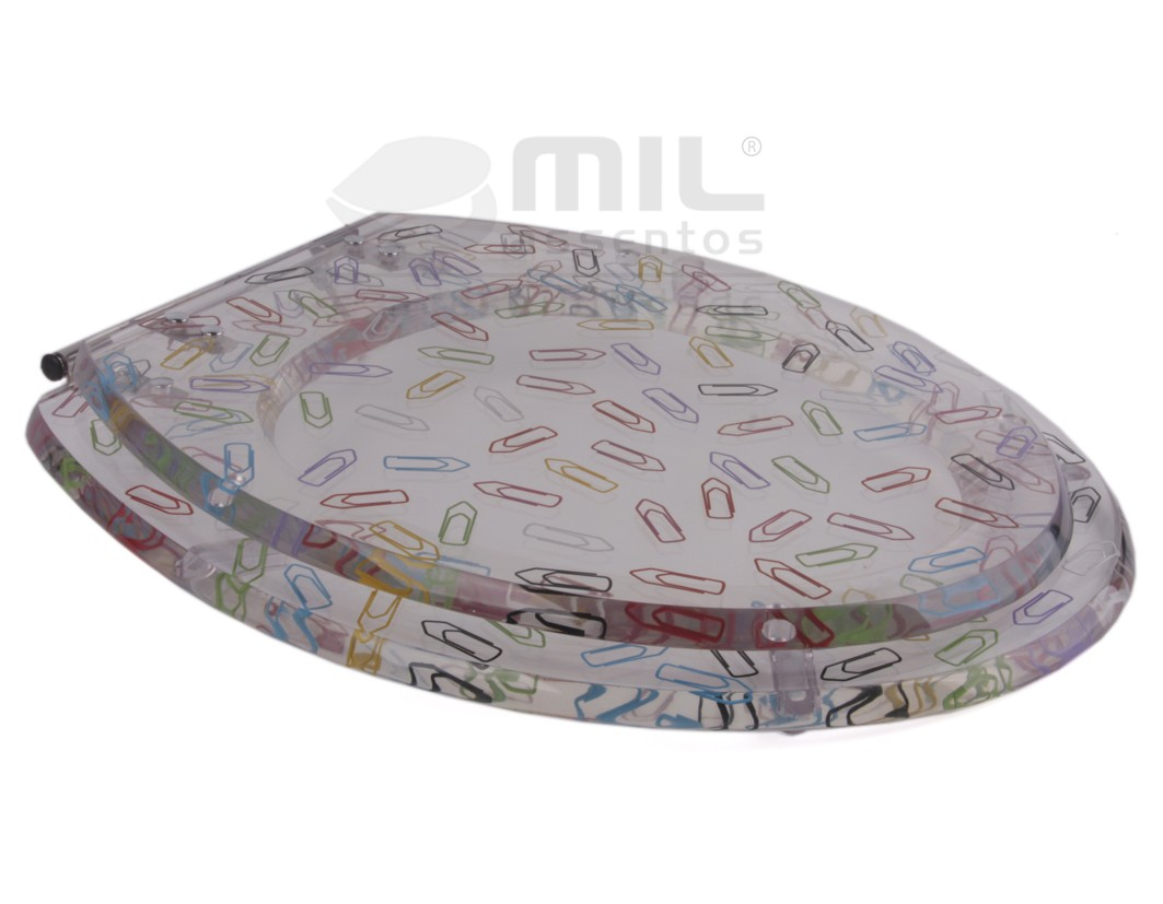 Assento Sanitário Poliéster Clips Colorido