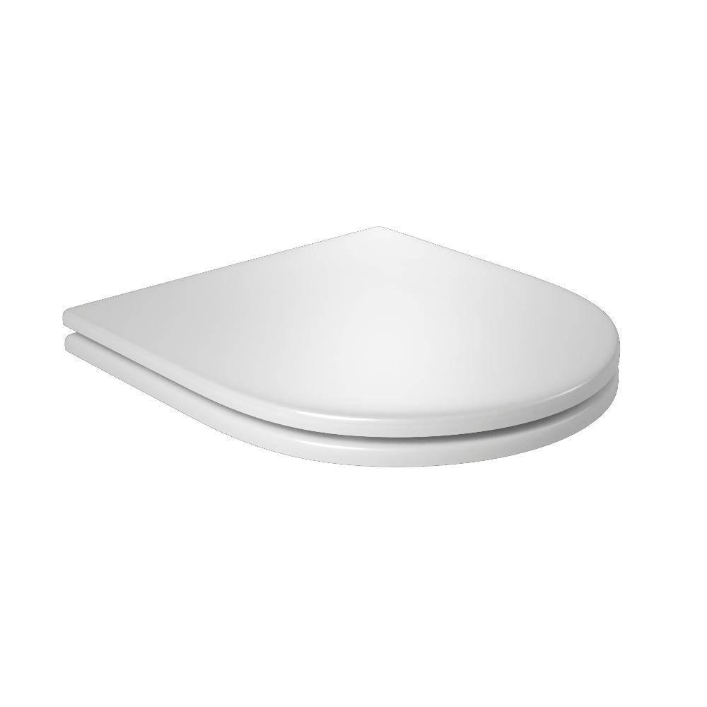 Assento BOUTIQUE Soft-Close Poliéster/Acrílico Axis / Quadra / Polo / Unic para Deca Cinza Fosco com Ferragem Cromada