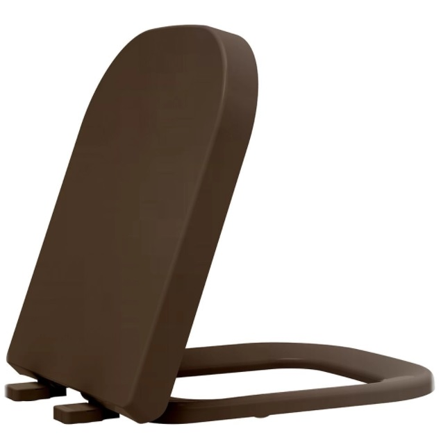Assento Soft-Close Polo MARROM FOSCO Termofixo Tupan para Louça Deca com Fechamento Suave