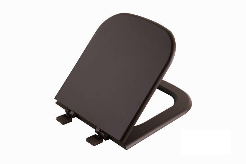 Assento SUPER LUXO EM MADEIRA MOLDADA para Bacia PIANO Deca - Marrom Fosco com Ferragem na cor do Assento