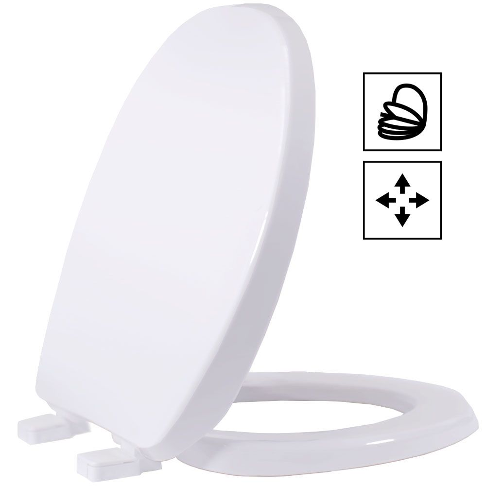 Assento Universal Solution Polipropileno BRANCO SOFT-CLOSE OVAL PADRÃO, para todas as Louças Ovais
