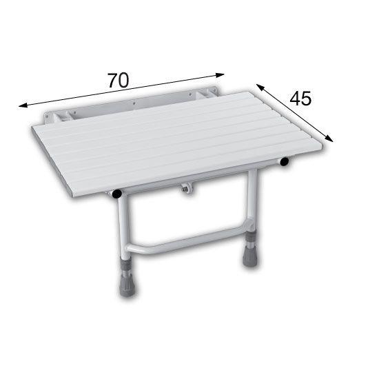 Assento (Banco) Articulado de Box para banho com Pés de Apoio para banho 70 x 45 cm conforme NBR 9050