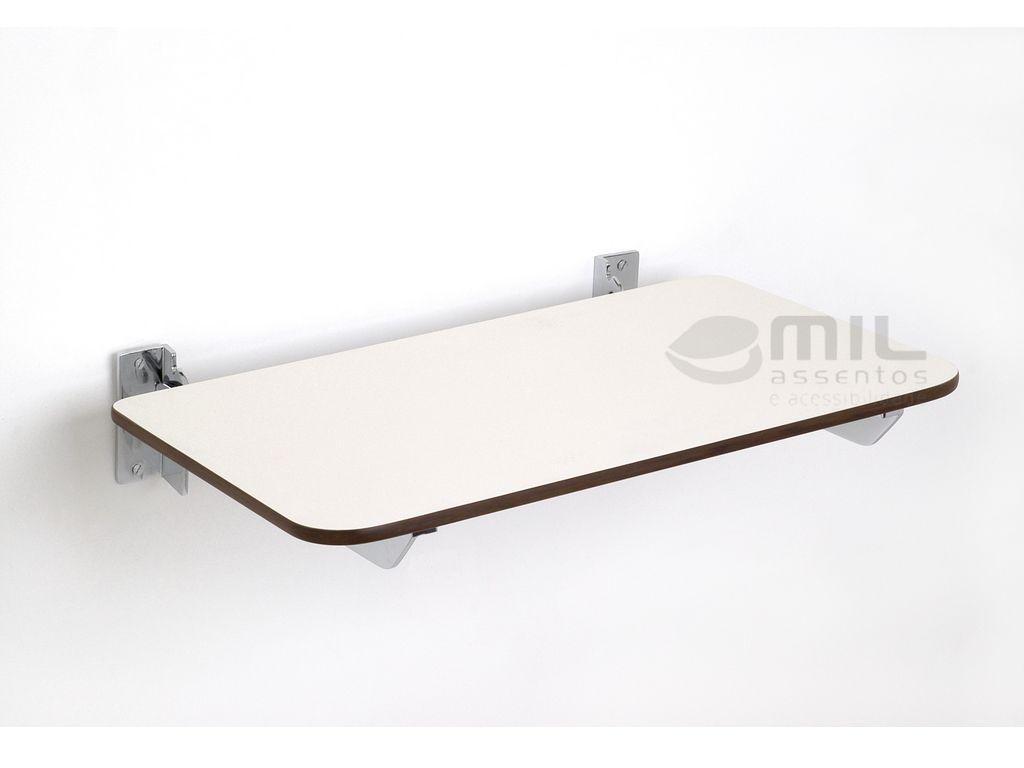 BANCO ARTICULADO/RETRÁTIL DA NBR-9050 - para BOX de Banheiro, em AÇO INÓX POLIDO E RESINA DE FÓRMICA, mede 40 x 45 cm, utilizado para BANHO de Cadeirantes Deficientes (PNE) (PCD) e Idosos