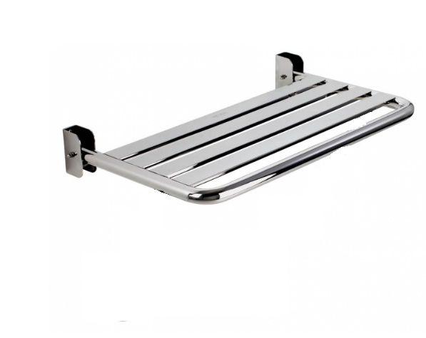 BANCO ARTICULADO/RETRÁTIL DA NBR-9050 - para BOX de Banheiro, em AÇO INÓX POLIDO, mede 40 x 45 cm, utilizado para BANHO de Cadeirantes Deficientes (PNE) (PCD) e Idosos