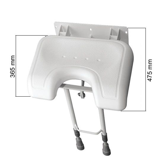 Assento (Banco) Fixo Articulado de box para banho 44 x 38 cm com pés tipo telescópio reguláveis.