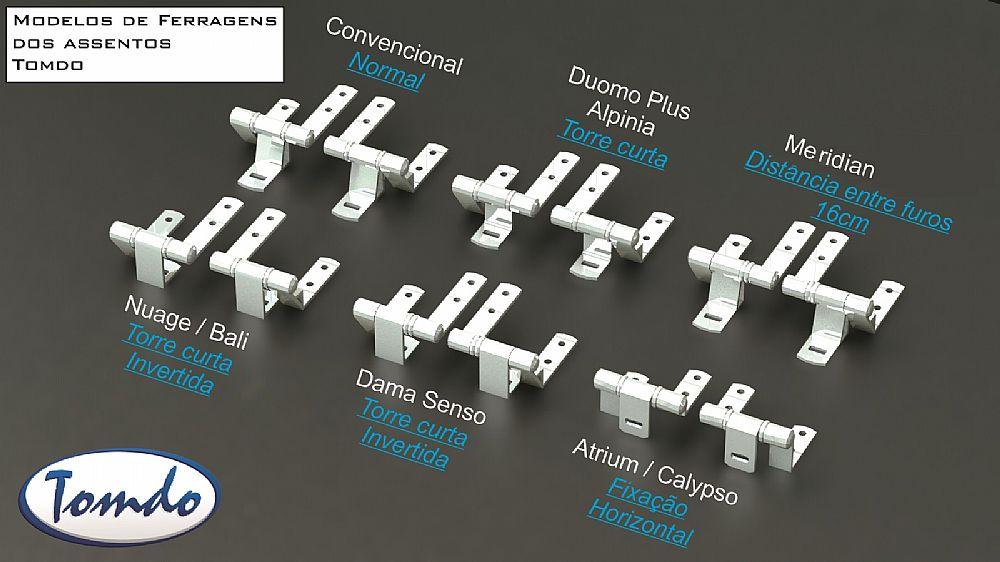 Conjunto de Ferragens para Assentos em Madeira Laqueada ou Poliester linha Convencional