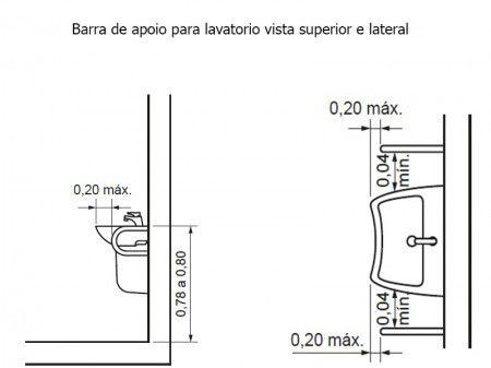 Barra Lateral da NBR-9050 para Lavatório em Aço Inóx Polido