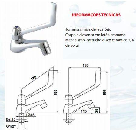 Torneira para Banheiro Deficiente da NBR-9050 Modelo Clinica - para Banheiro PNE de Deficiente e Idoso